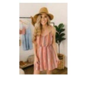 V-neck desert striped dress w/tie back